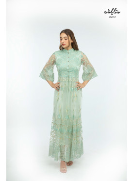 Elegant long dress, in light green, embroidered with a high neckline
