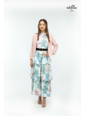 An elegant two-piece set in a pink jacket and layered dress with floral prints