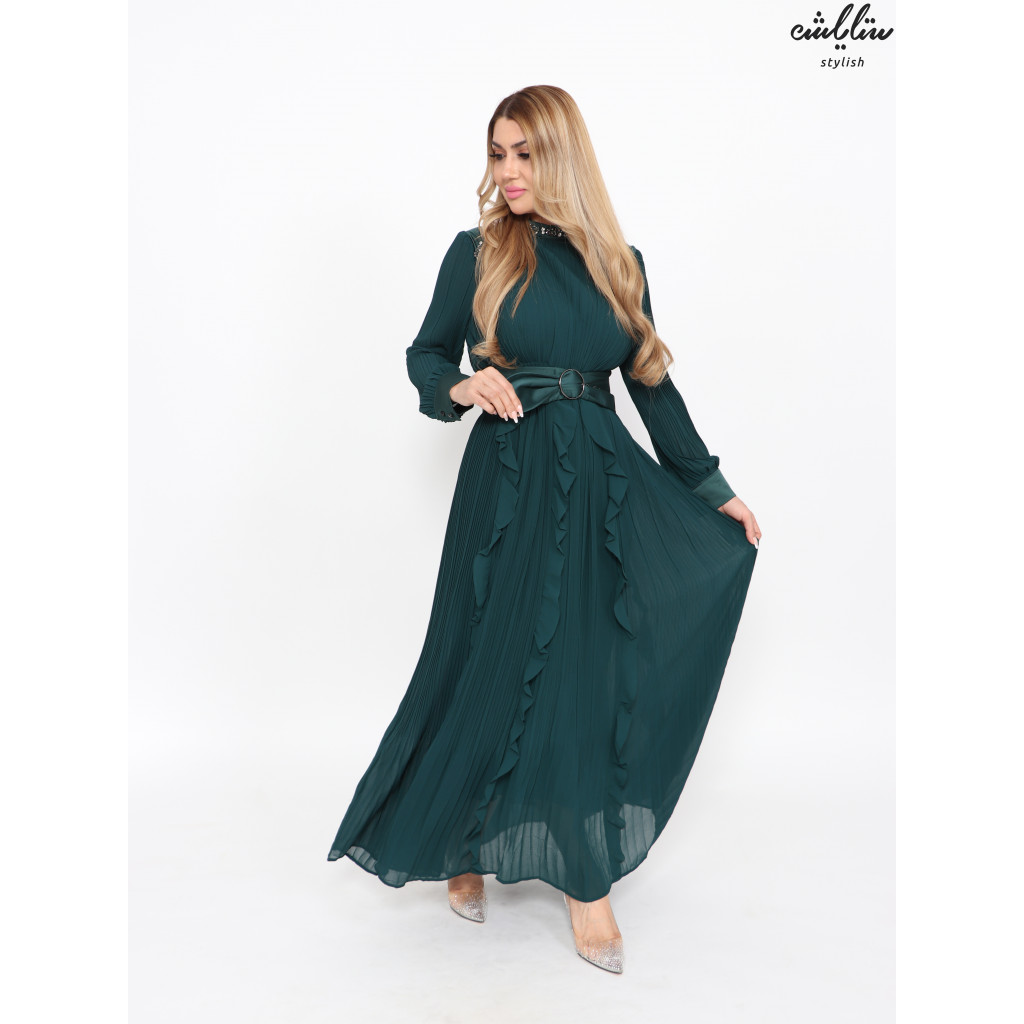 Green pleated chiffon dress with crystals on the neck