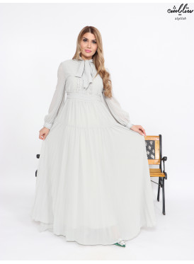 Long chiffon dress with a soft cut in gray color