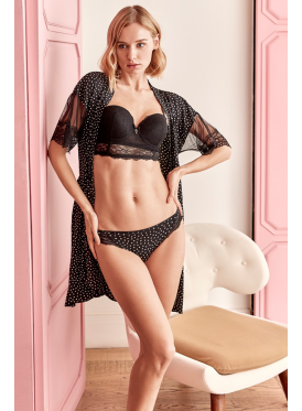 A classy three-piece black set with a short dress, suspenders and lace-embellished clothe