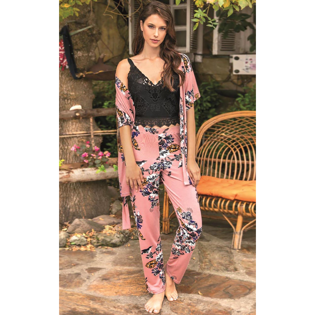 3 piece floral print PJ set with Guipure lace Black Top Of High Quality Texture