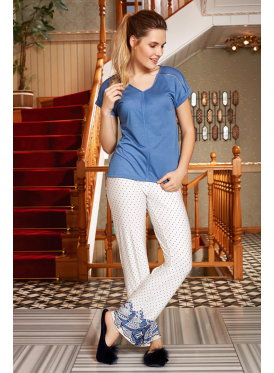 Elegant pajamas set with blue blouse and soft trousers