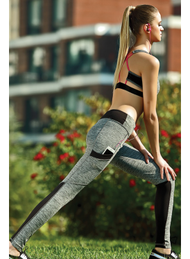Grey and black sporty ensemble with soft open-top bodice