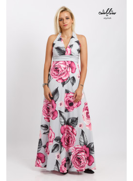 A long grey dress with thin rose prints gives the dress an elegant whiff like no other with a classic, elegant neckline