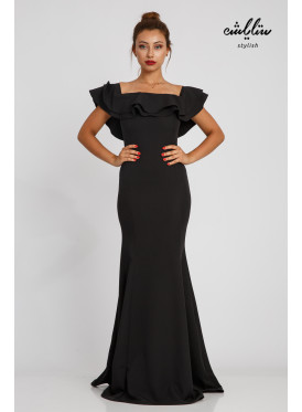 A feminine maxi black dress with a tight design, soft ruffles and a wide finish