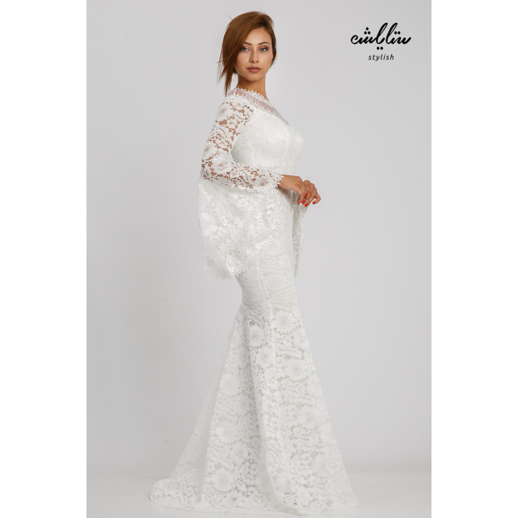 Soft white event dress with wide sleeves and nude shoulders