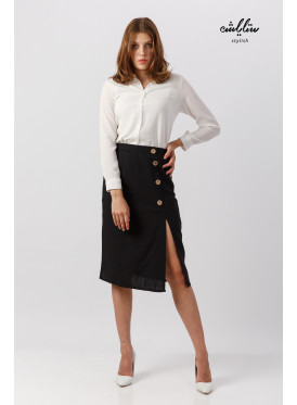 Elegant skirt in black midi decorated with buttons for a beautiful look