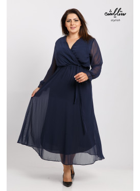 A long, soft blue dress with a long wrap and a long sleeve with an attractive feminine look