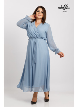 A soft wrap-and-sleeved long dress with an attractive feminine look