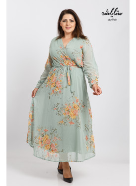 Elegant wooded cucumber dress with a wrap-around waistband for a soft feminine look