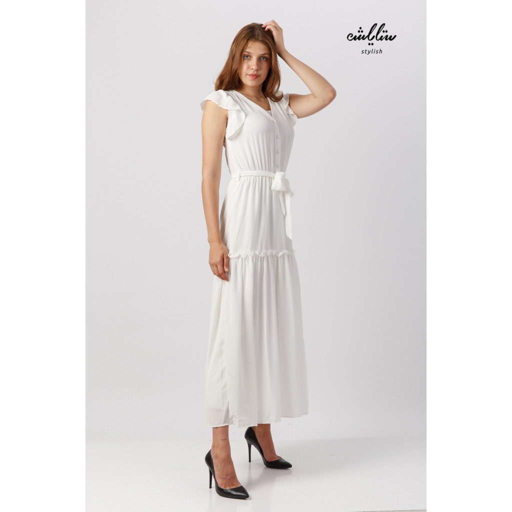 Short-sleeved white maxi dress and soft and elegant design