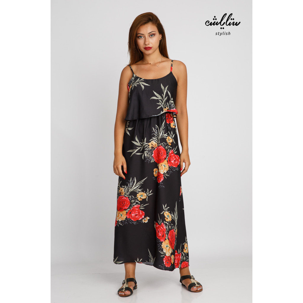 A black topless maxi dress with soft bushes for an attractive feminine look