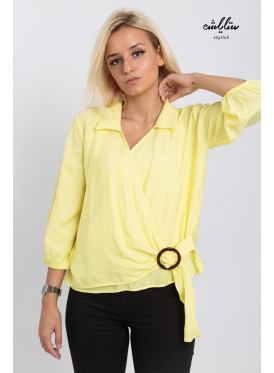 Soft yellow wrap blouse to add an attractive touch