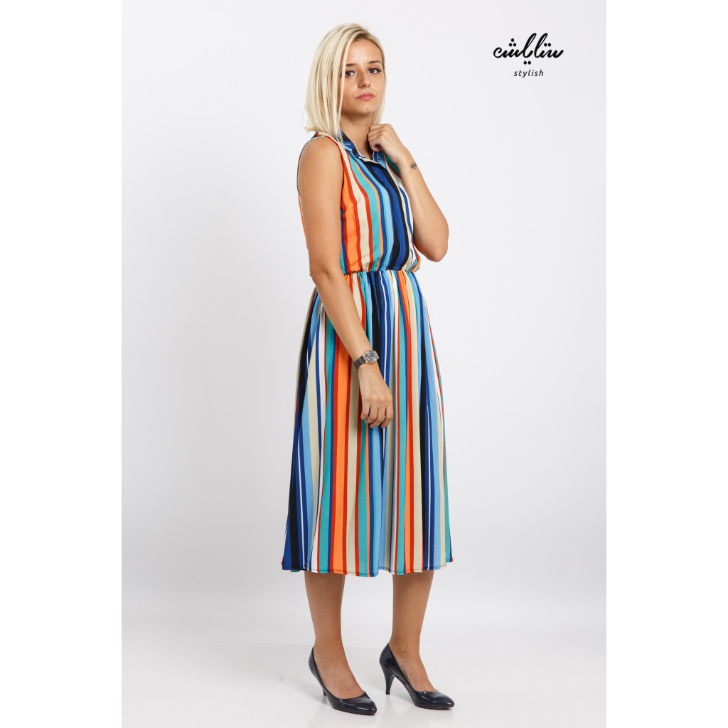 A stylish midi dress in matching sleeveless colours for a sophisticated look