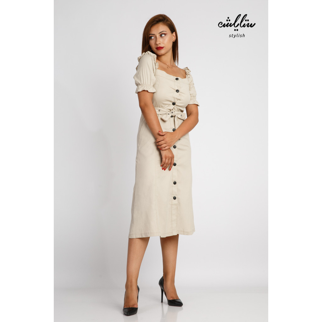 Soft midi beige dress with a distinctive sleeveline decorated with a stylish belt