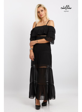 A long, soft black dress with ruffled sleeves for an attractive look