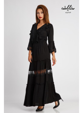 A long black dress with a very elegant lace