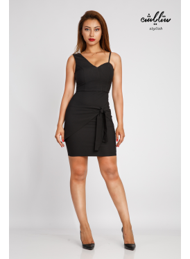 A short black dress with bare shoulders with elegant details and a unique design
