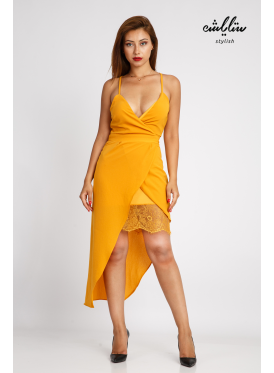 A feminine dress in a bare-shouldered mango with a touch of lace in a soft and innovative design