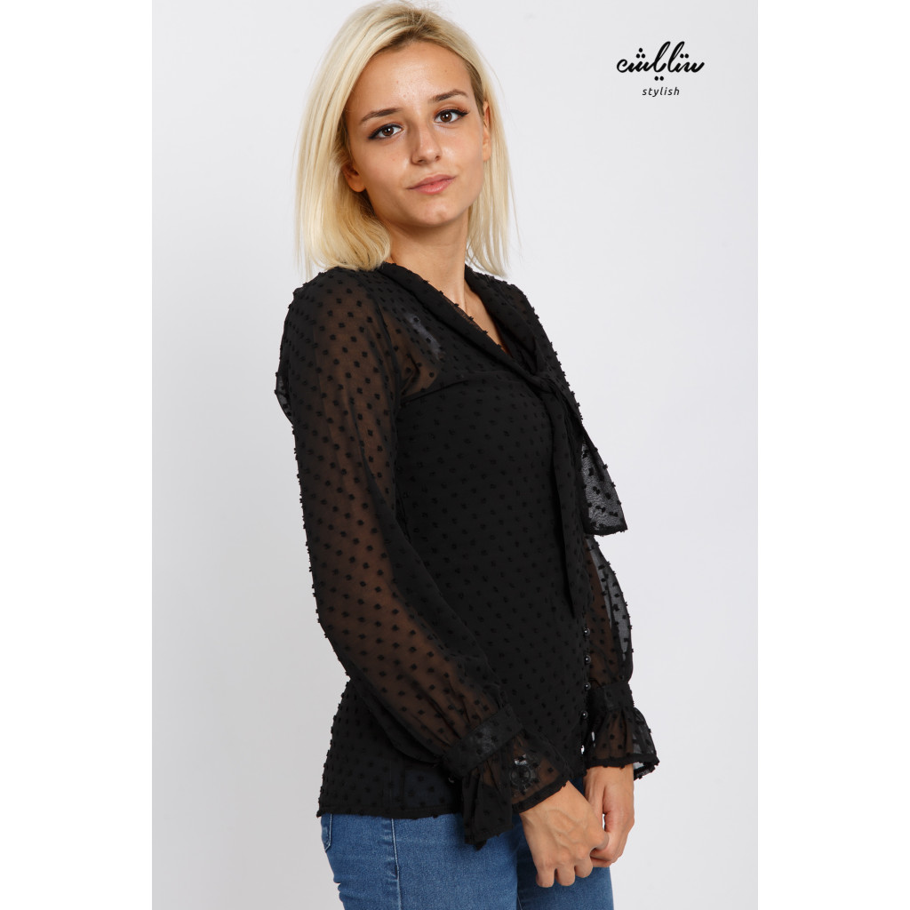 Stylish black blouse with a practical tie for elegant look
