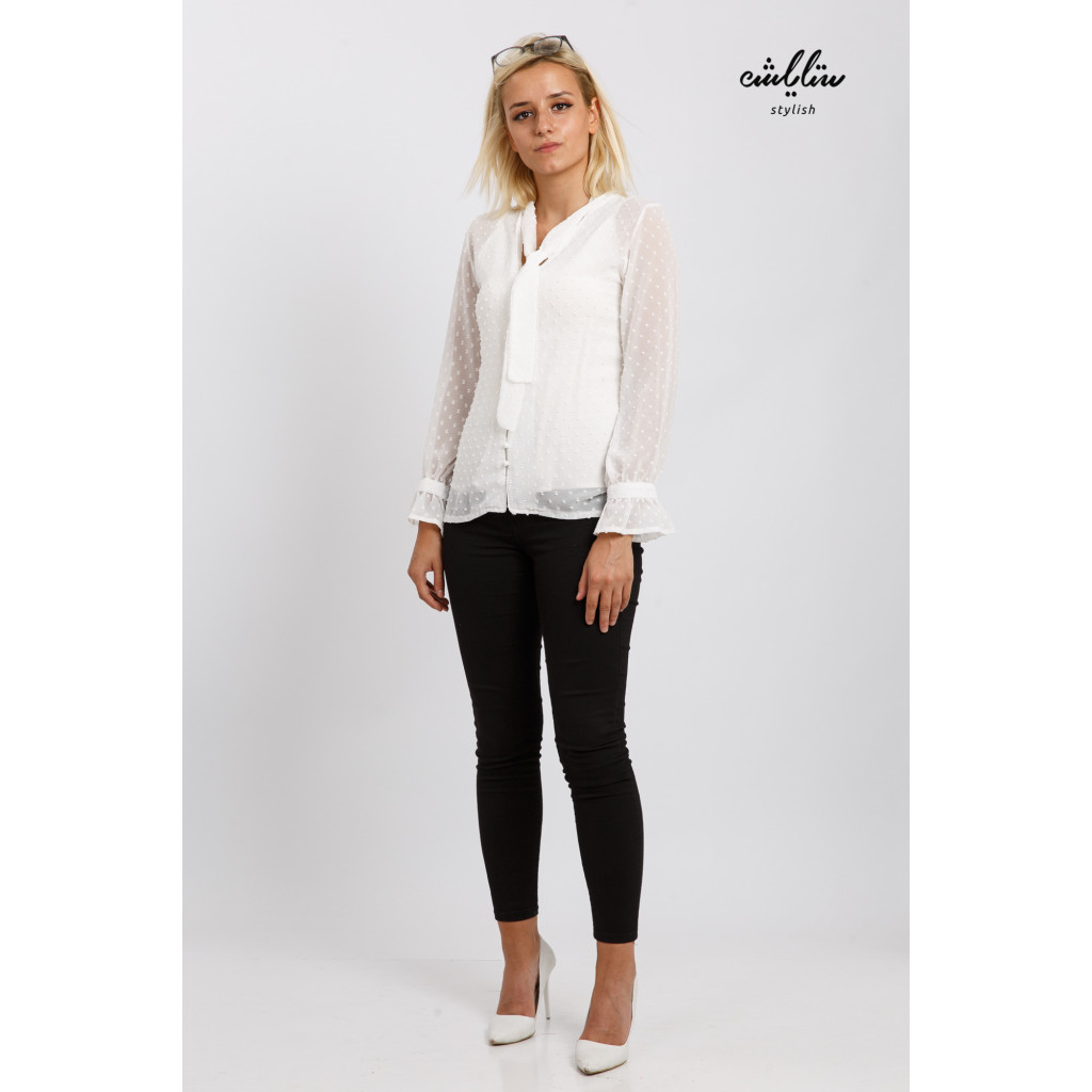 Stylish white blouse with a practical tie for elegant look