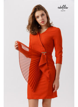 Short formal dress with mid-length sleeves in orange for a stylish and dazzling look