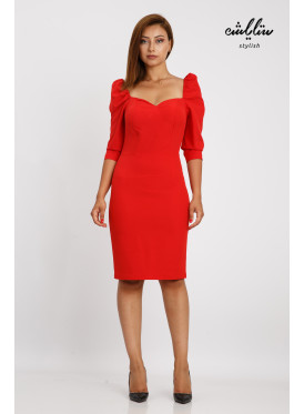A short red dress and sleeves that reflect classy elegance