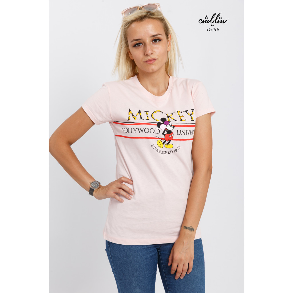 Pink cute T-shirt with Mickey Mouse cartoon print