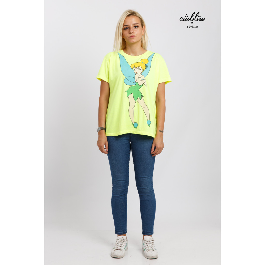 Soft yellow t-shirt printed in cartoon character