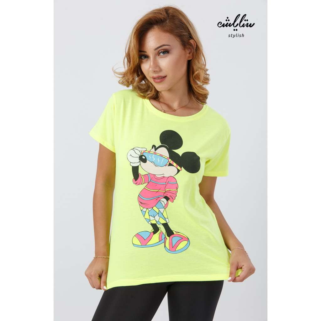 Yellow T-shirt with soft embroidery and Mickey Mouse print with a chic touch