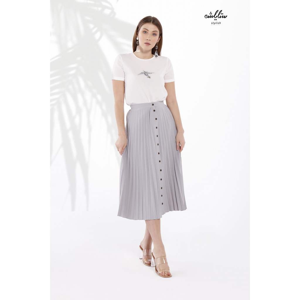 Gray midi skirt in a Pelisse style with a front button line.