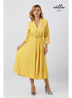 Formal collar- v Neck Pleated A-line Yellow Dress With Belt