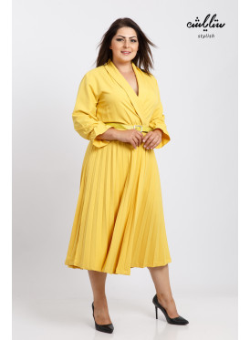V collar Pleated yellow Dress With Belt