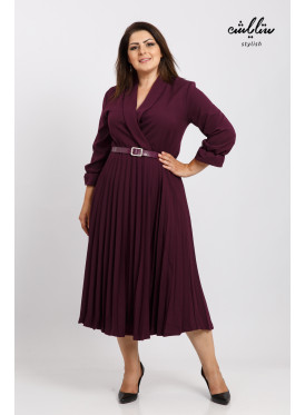 V Neck collar Plisse Burgundy color Dress With Belt