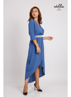 Stylish midi dress with a crystal belt with a chic cut