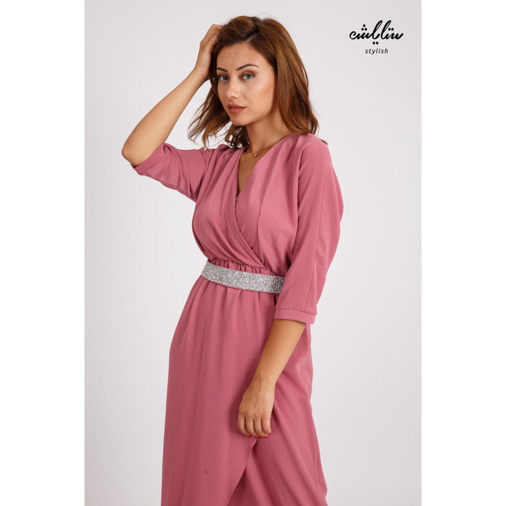 Stylish midi dress with a crystal belt with a chic pink cut
