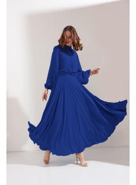 A luxurious blue sparkle dress with a high collar and long sleeves featuring delicate folds suitable for evenings and events