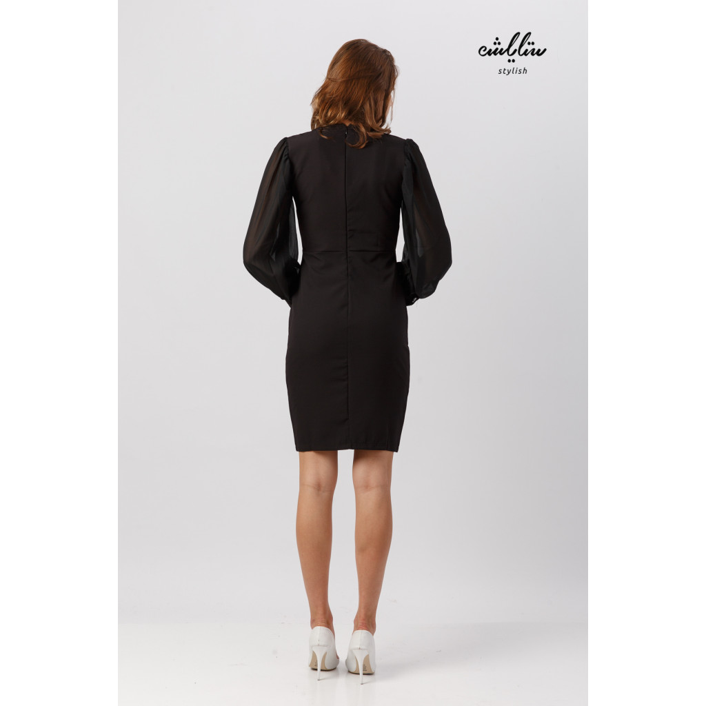 Stylish black dress with pov sleeves for overpowering elegance