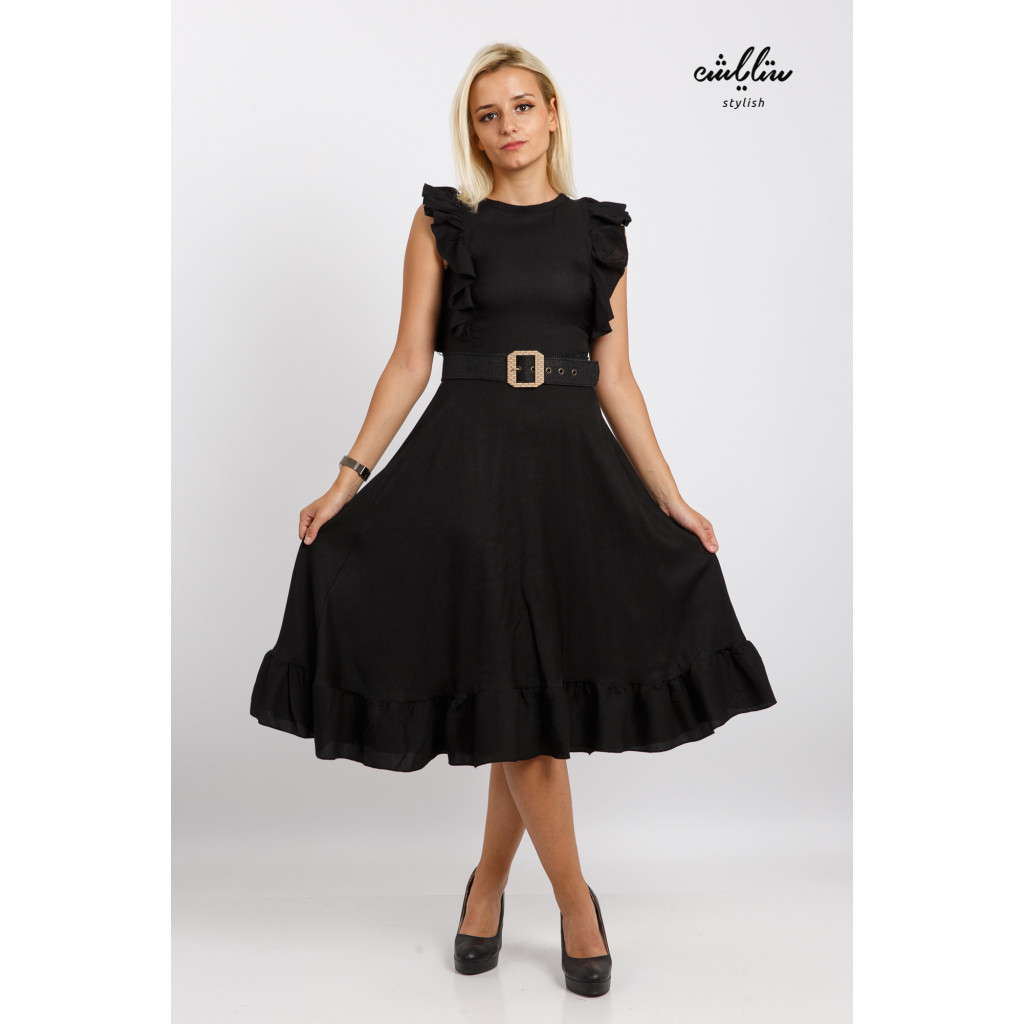 A short black dress with a stylish belt with a beautiful cut, a high neckline and a soft look