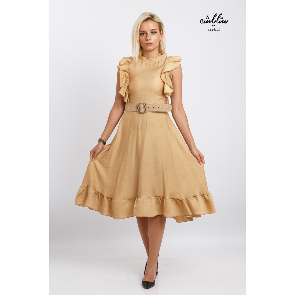 A short gold dress with a stylish belt with a beautiful cut, a high neckline and a soft look