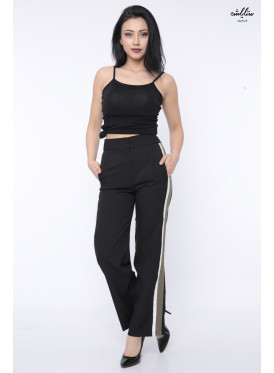 Soft black trousers decorated with a crisp wide side line