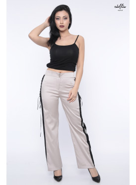 Stylish grey pants with sequin design from the side with a touch of yarn that adds elegance