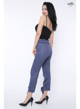 High-west pant formal blue striped and lace-up straps are more attractive
