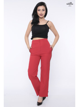 Attractive red trousers with a side-line with a modern crisp zipper