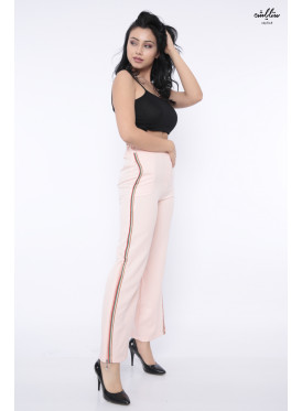 Cute baby pants with a side line with a retractable zipper crisp