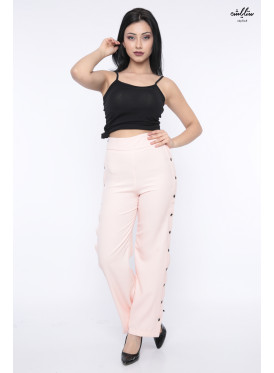 Sleek and stylish design for pink baby pants with open side buttons crisp attractive