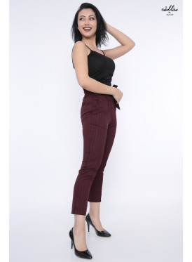 Elegant burgundy trousers with striped design and chic crisp belt are all smooth