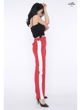 Highwest's pants are wide from the bottom with attractive red and a side white line