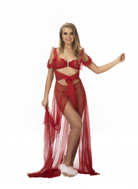 Chiffon red nightshirt decorated with charming views